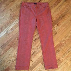 NYDJ Pink snake skin patterned skinny jeans sz 14